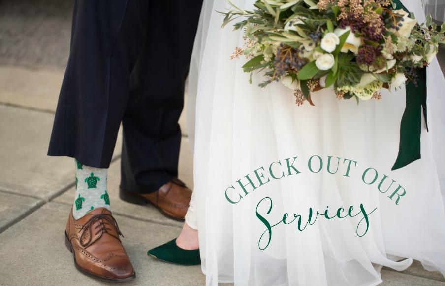 services packages bride and groom shoes custom socks turtle socks fun wedding details green