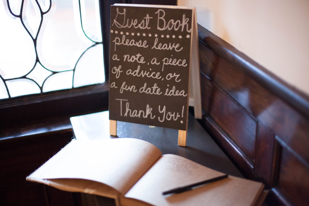 guest book sign on chalkboard