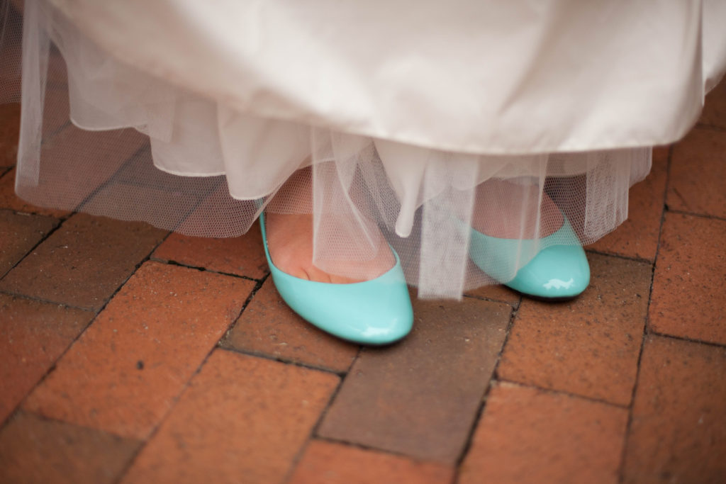 something blue teal flats under bridal dress