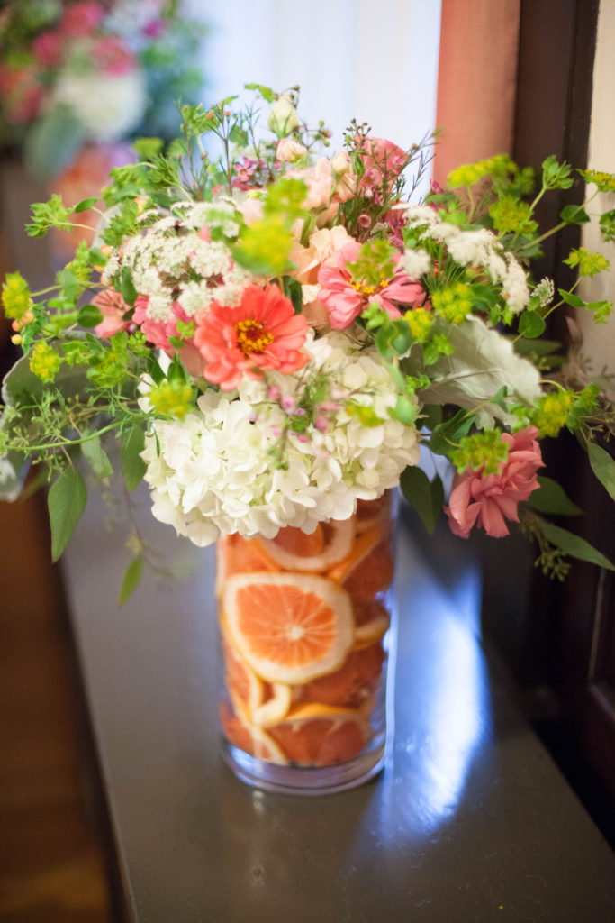 grapefruit and floral centerpieces by The English Garden Raleigh