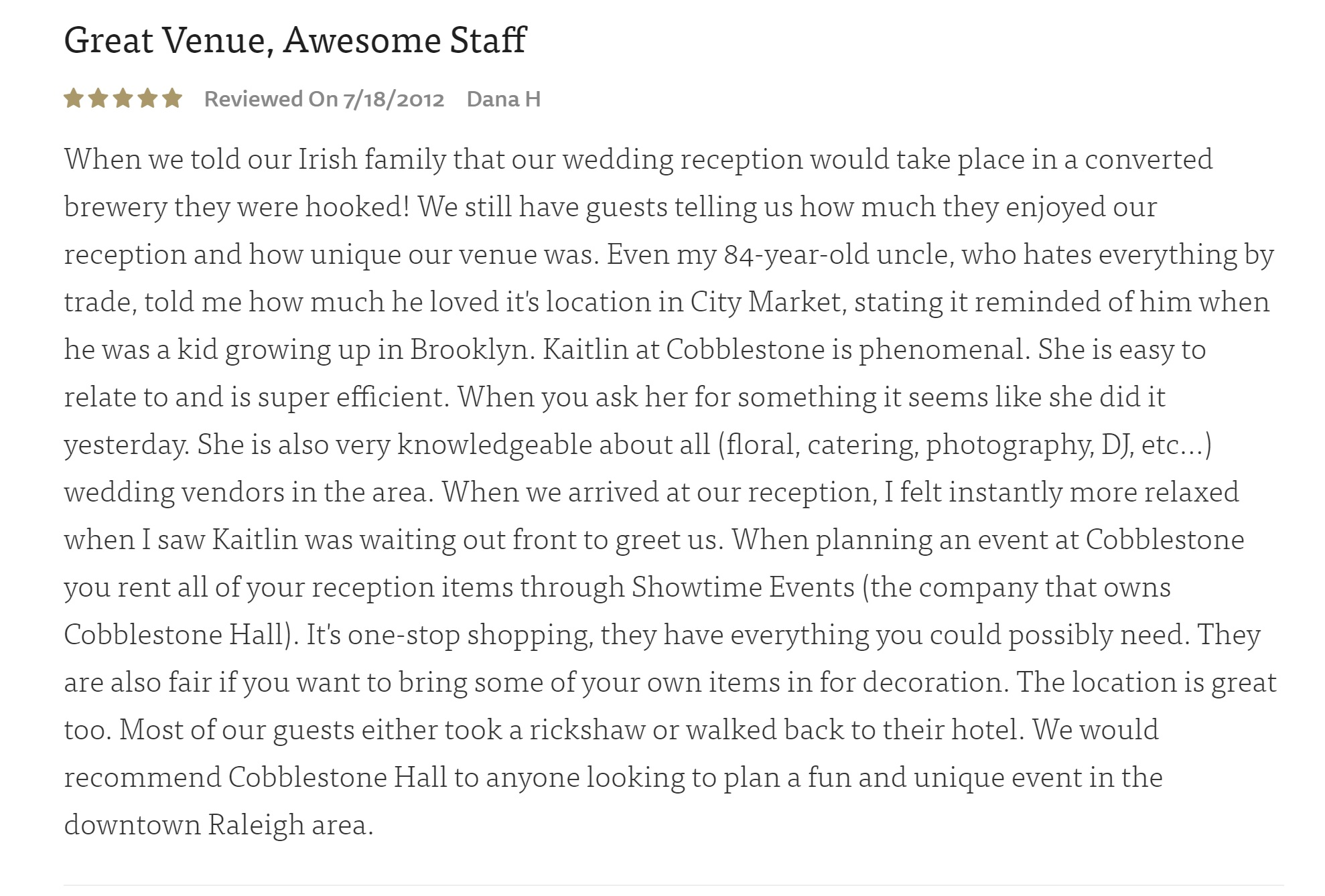 great venue awesome staff wedding review of cobblestone hall and kaitlin briggs stammetti