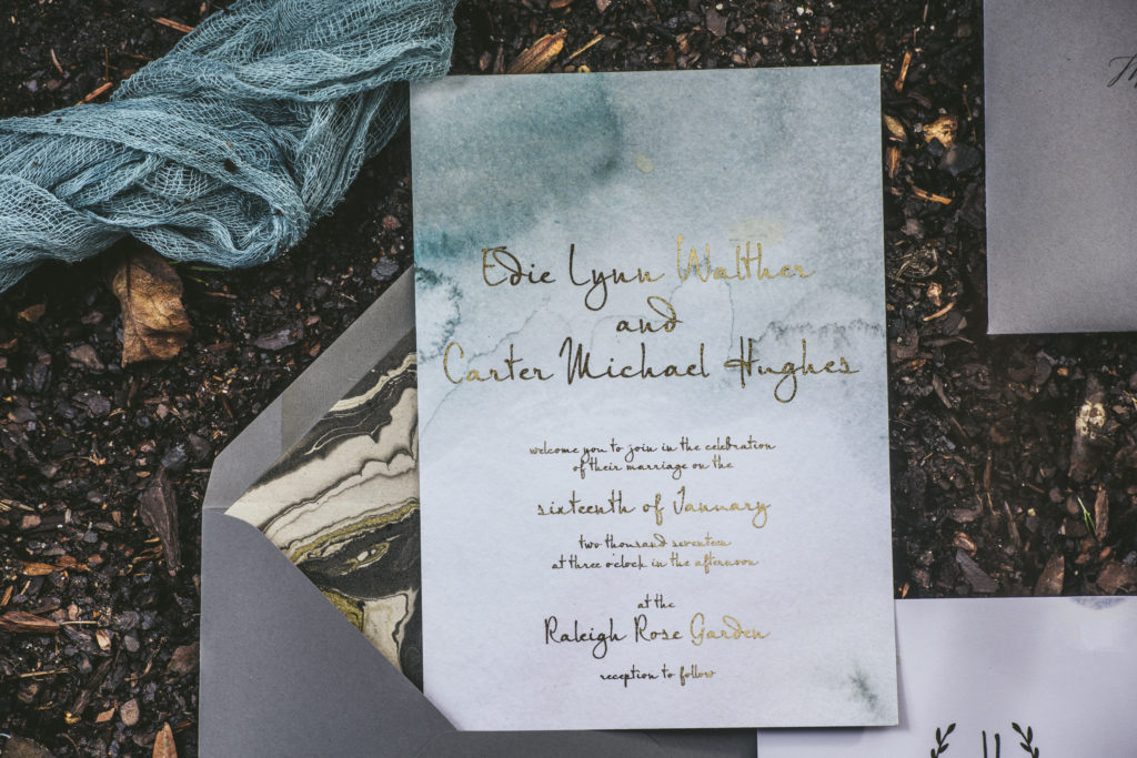 green and gray marbled watercolor save the date invitation suite by Chelsea B Design Studio photo by Nieto Photography
