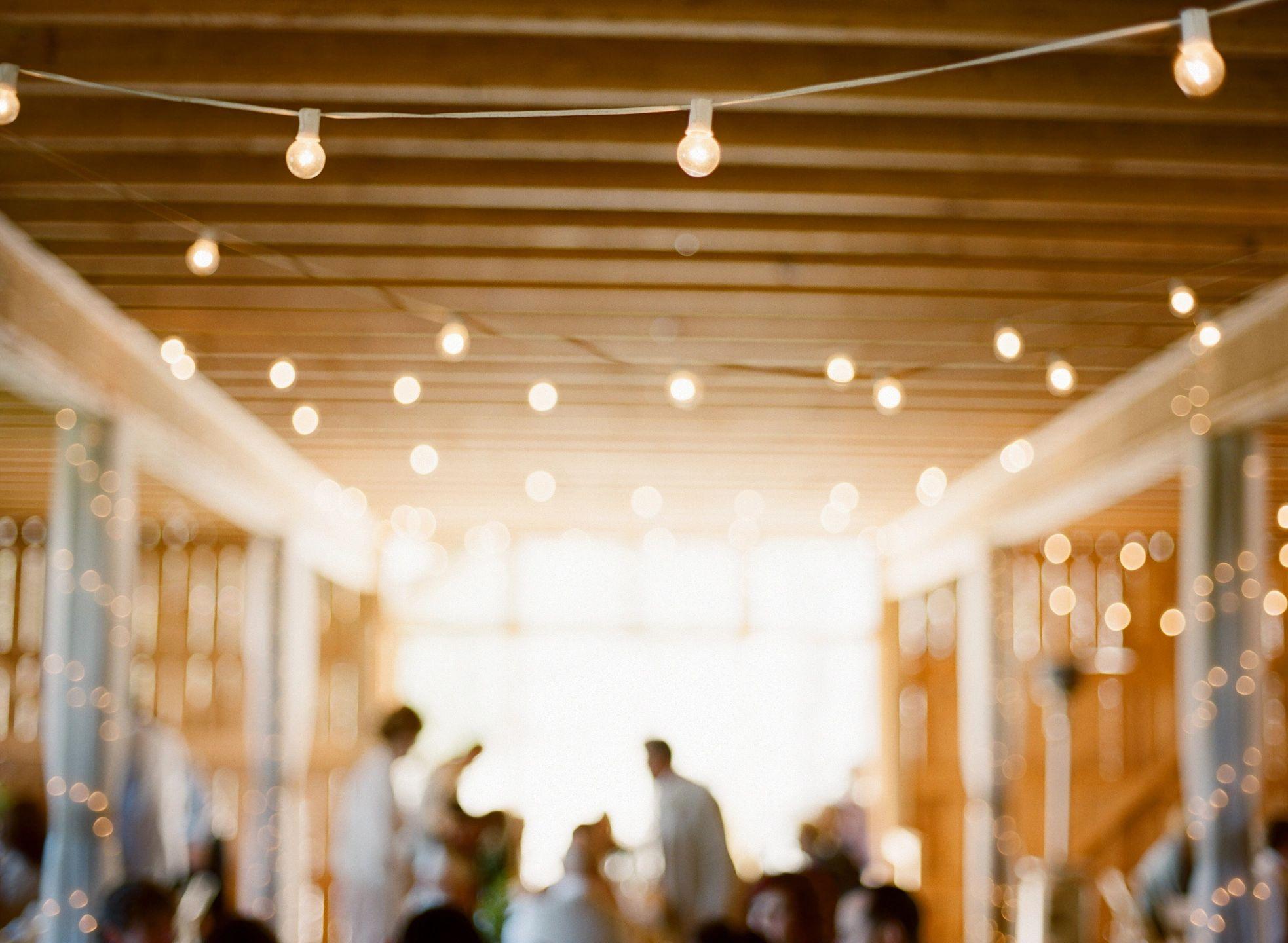 wedding venue with market bulbs