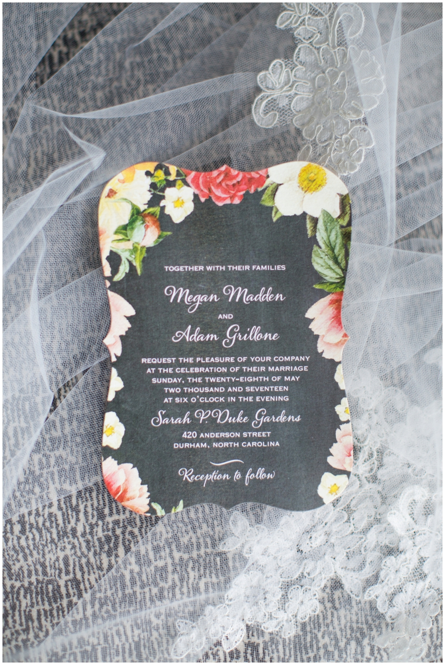 floral print wedding invitation