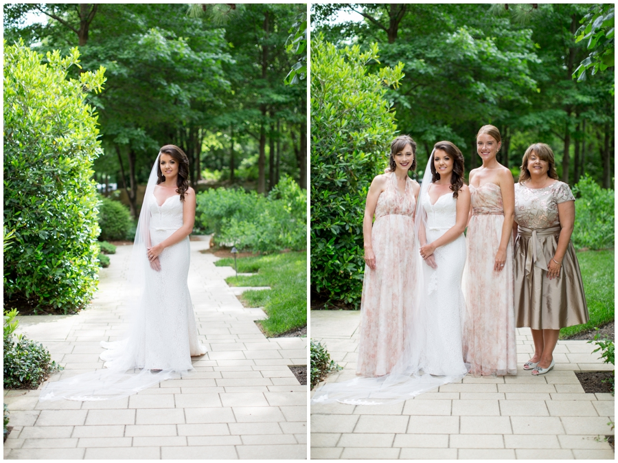 bride and bridesmaids in blush