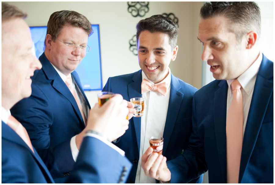 groom and groomsmen cheers