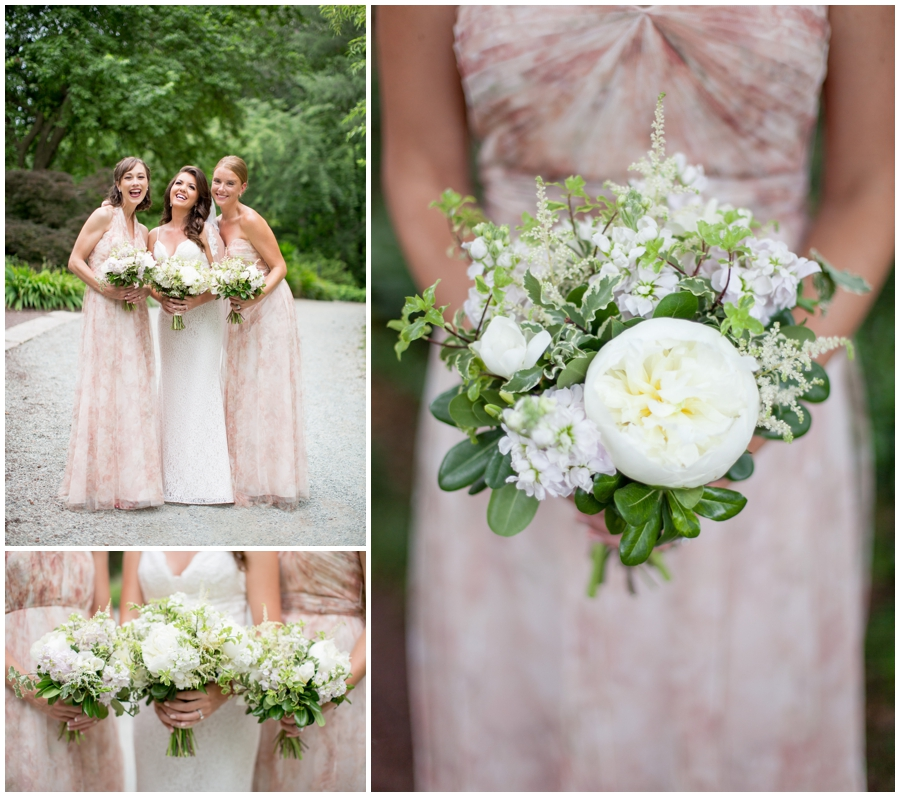bride and bridesmaids white bouquets with peonies