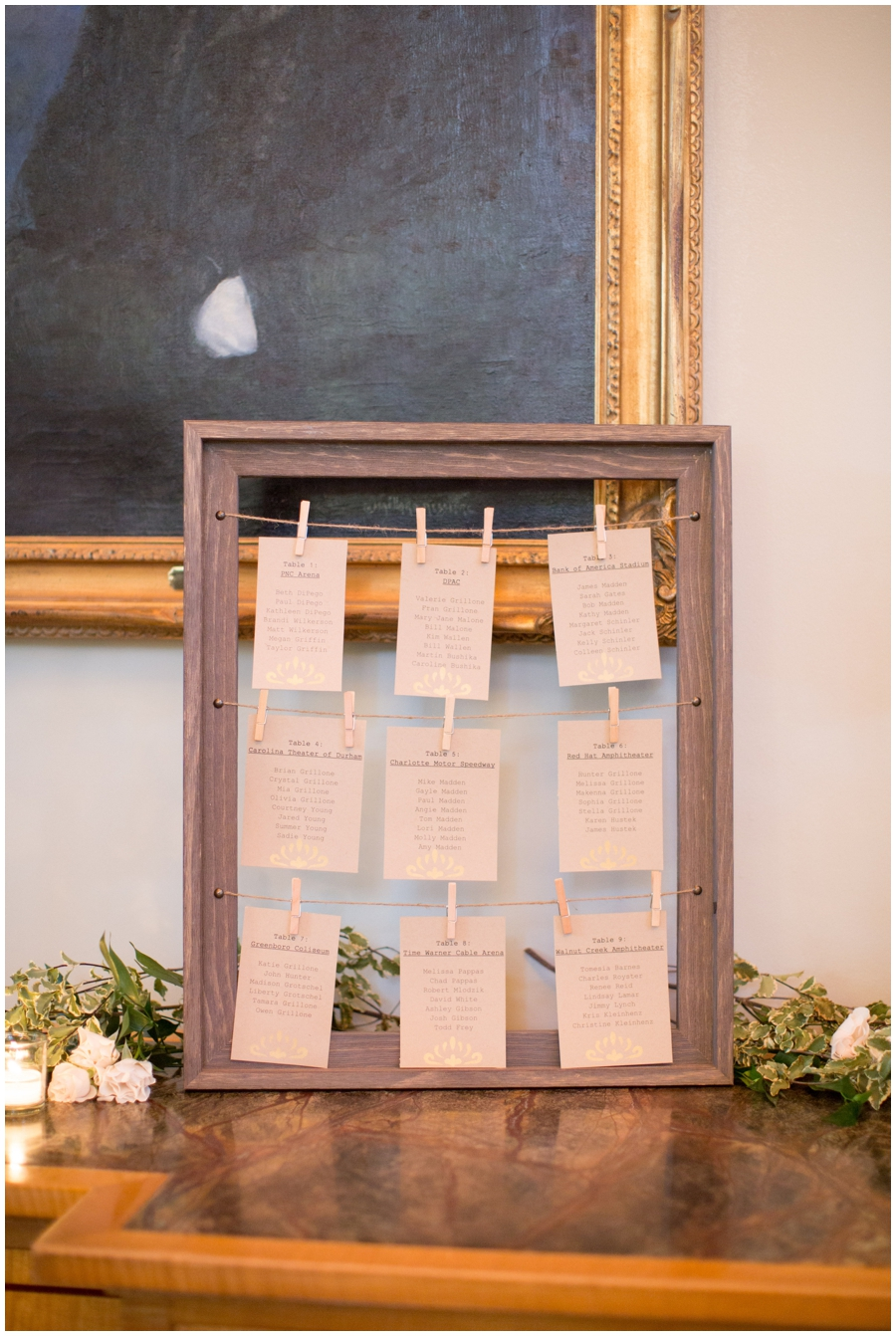 escort card/seating chart display