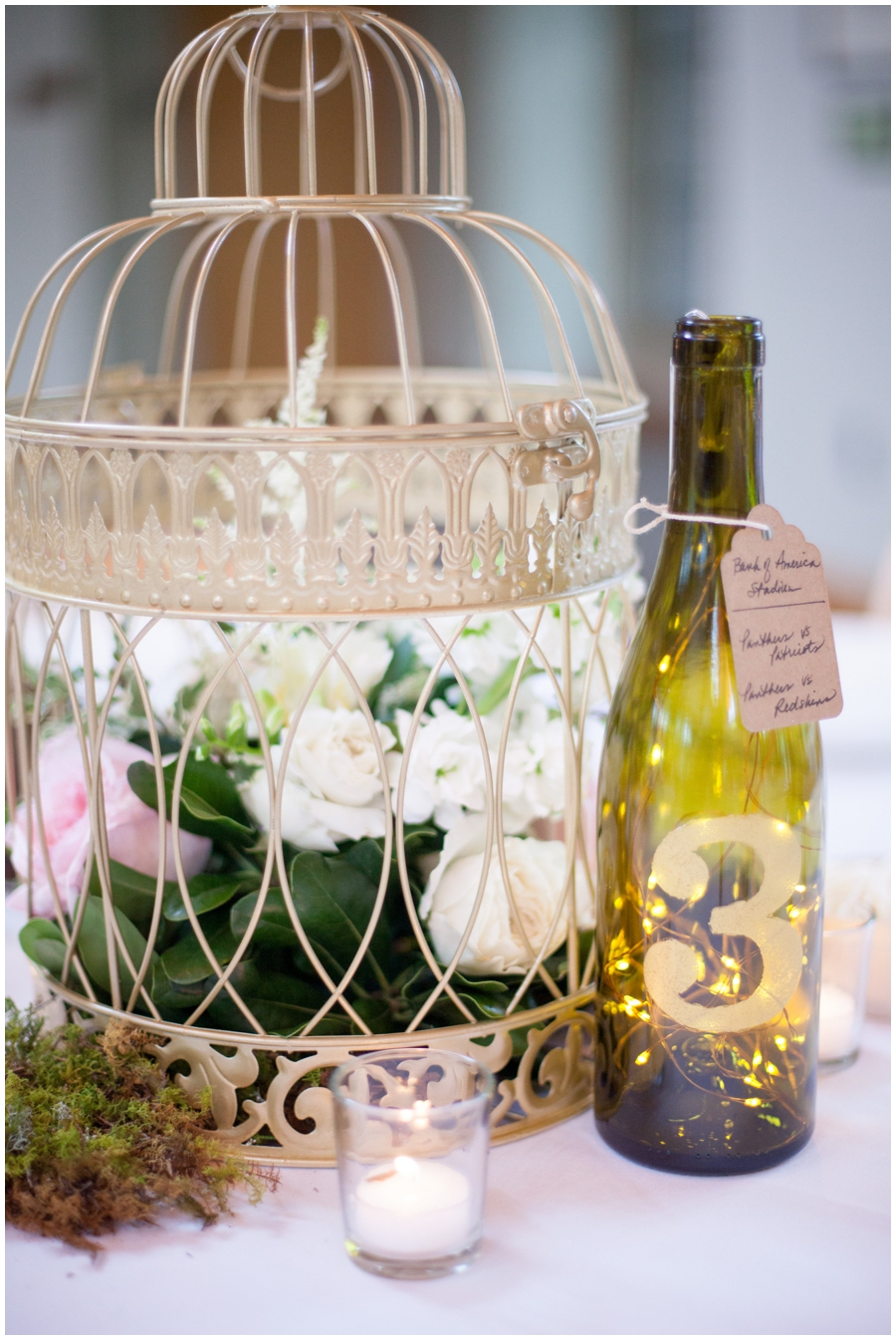 lantern centerpiece with wine table number